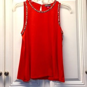 Vince Camuto Red Beaded Tank